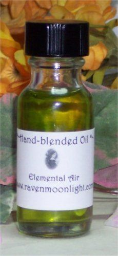 Hand-blended Oil: Elemental Air Oil by Raven Moonlight. $8.99. Our oils are hand blended with all natural ingredients for the freshest possible product. All of our oils come in a 1/2 ounce clear glass bottle with a black cap. All bottles are shrink sealed to maintain freshness.   Our base oil is Jojoba with a touch of grapeseed oil and pure 100% essential oils in every blend. All of our oils are 100% cerified organic as well. Jojoba oil is safe to use on your skin, so you can use...