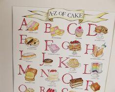 Cake Alphabet Illustrated Giclée Print Wall Art - Prints and Posters Alphabet Print, Kitchen Wall Art, Cake Art, Botanical Prints, Watercolor Illustration, A3, Food Art, Wall Art Prints, Giclee Print