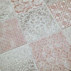 Mix our beautiful 'Delicato' glazed & embossed tiles. Delicate florals & geometric patterns in stylish muted colours.