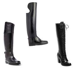 Three different black tall riding boots