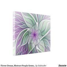 Flower Dream, Abstract Purple Green Fractal Art Canvas Print