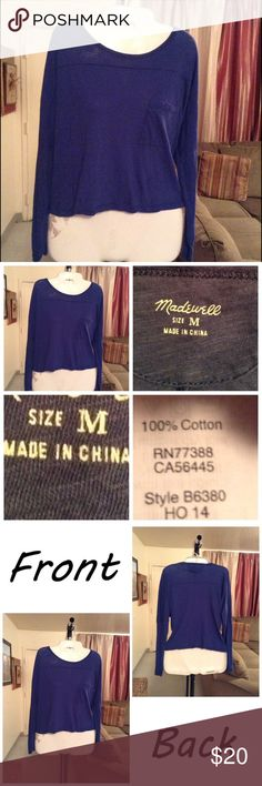 "Madewell Cropped Top Top is 100% Cotton.  Color Blue. Size Medium. 1 pocket front. Long sleeve. Laying flat ""23. Length ""21. This item is NOT new, It is used and in Good condition. Authentic and from a Smoke And Pet free home. All Offers through the offer button ONLY.  Ask any questions BEFORE purchase. Please use the Offer button, I WILL NOT negotiate in the comment section. Thank You😃 Madewell Tops"