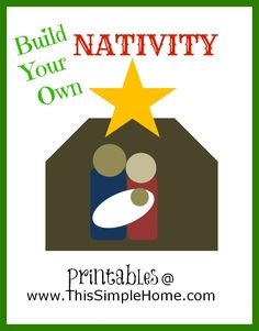Build Your Own Nativity Printables with solid colors or outlines.  Have older children add animals and shepherds using basic shapes!