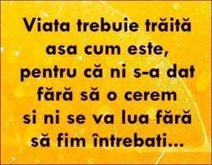 Mesaje frumoase despre viata - Viaţa trebuie trăită aşa cum este Motivational Words, Inspirational Quotes, Motto, Letting Go, Psychology, Lol, Thoughts, Happy, Characters