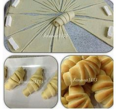 Crescent-shaped pirashki pastries perfectly formed little knots with characteristic trident embellishment cut from one circle of dough Crescent Rolls (picture tutorial only) A way to fancy your crescent rolls! Croissants - love the extra cuts, creates ano Bread Recipes, Cooking Recipes, Bread Shaping, Good Food, Yummy Food, Bread And Pastries, Food Decoration, Snacks, Creative Food