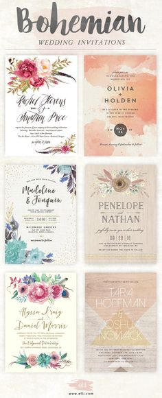 Top bohemian wedding invitations featuring flowers and feathers. You will love these boho designs. Bohemian Wedding Invitations, Wedding Invitation Design, Wedding Stationary, Wedding Themes, Wedding Cards, Invitation Ideas, Bohemian Invitation, Wedding Venues, Debut Invitation