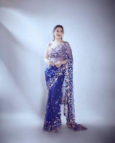 Indian Fashion Dresses, Indian Outfits, Blue Saree, Madhuri Dixit, Indian Celebrities, India Beauty, Saree Collection, Indian Actresses, Beauty Women