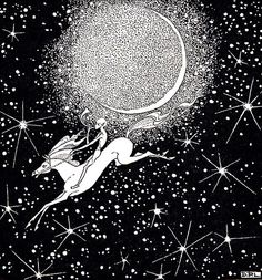 Vintage Black and White Line Drawing--Dorothy Lathrop-Flying Horse in Starry Sky