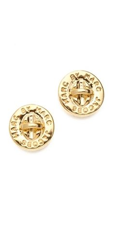 Marc Jacobs Turnlock Stud Earrings #gold #classic