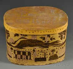 Yellow Bandbox with Steam Locomotive Pattern, America, c. 1835