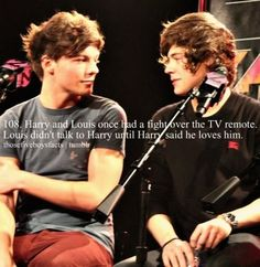 Harry and Louis once had a fight over the TV remote. Louis didn't talk to Harry until Harry said he loves him. :')