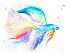 Betta Fish Watercolor Art Original Artwork Original by AngyPaints Watercolor Images, Watercolor Tattoo, Watercolor Paintings, Fish Paintings, Betta Tattoo, Art Videos For Kids, Fish Drawings, Fish Art, Painting Inspiration