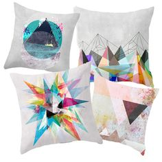 Interiors | Vibrant Geometry. #homedecorobjects, #pillows
