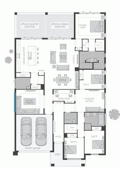 This house has lots of potential for Sims. Needs a laundry rm., don't like where study is and master bth needs a tub. Best House Plans, Dream House Plans, Modern House Plans, House Floor Plans, My Dream Home, The Plan, How To Plan, Mcdonald Jones Homes, Home Design Floor Plans