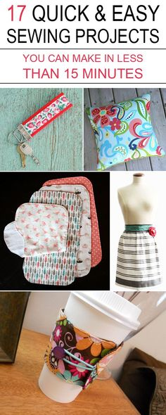 "diytotry: "" 17 QUICK & EASY SEWING PROJECTS YOU CAN MAKE IN LESS THAN 15 MINUTES →"""