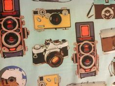 Hey, I found this really awesome Etsy listing at https://www.etsy.com/listing/125747607/retro-camera-cameras-blue-cotton-fabric