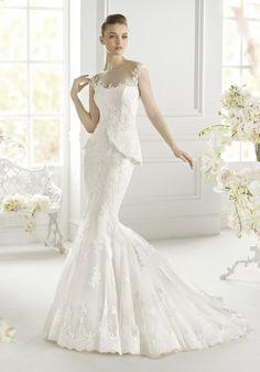 Avenue Diagonal | Beautiful Wedding Dress with Elegant Illusion Neckline and Peplum - Hong Kong | LMR Weddings
