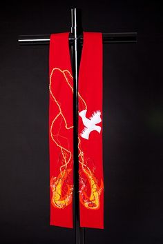 Clergy Stole  Red Liturgical Stole for Pentecost by PiecedbyPeace, $200.00