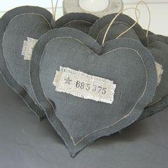 coeur coussin de porte en lin noir ancien numéro et étoile