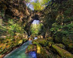 """Θεογέφυρο or Theogefiro means in Greek """"Bridge made by God"""" Beautiful Places To Visit, Cool Places To Visit, Amazing Places, Natural Bridge, Fishing Villages, Archaeological Site, City Break, The Good Place, Greece"""