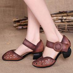 16夏新款原创手工凉鞋女真皮包头镂空高跟舒适妈妈鞋头层牛皮女鞋
