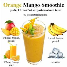 Healthy Juice Recipes, Healthy Juices, Mango Orange Smoothie, Perfect Breakfast, Chicken Wings, Smoothies, Treats, Fruit, Smoothie