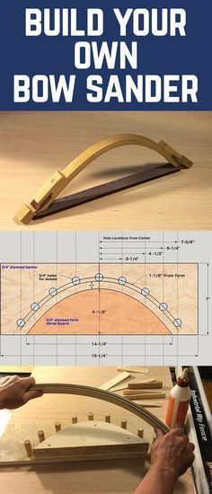 This cool tool is great for sanding those irregular shapes or cleaning up a radiused corner: stuff where you need that controlled hand/eye combination to get it just right. Its made from a simple lamination of five strips of white oak and has a simp Woodworking Hand Tools, Woodworking Projects Diy, Diy Wood Projects, Woodworking Tools, Sanding Tips, Sanding Wood, Homemade Tools, Diy Tools, Cheap Power Tools