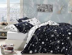 Cotton Navy Blue and White Bedding Set, Stars Themed Quilt/Duvet Cover Set, Stars Motifs Composition Design, Single/Twin Size Pcs)