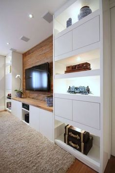 The Perfect TV Wall Ideas That Will Not Sacrifice Your Look - 01 - Favorite 149 Perfect TV Wall Ideas That Will not Sacrifice Your Look Built In Shelves Living Room, Built In Wall Units, Modern Tv Wall Units, Living Room Wall Units, Home Living Room, Built In Tv Cabinet, Tv Wall Shelves, Tv Cupboard, Tv Wall Design
