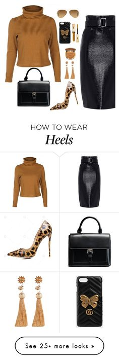 """Untitled #2470"" by ebramos on Polyvore featuring Ray-Ban, Gucci, Too Faced Cosmetics and Yves Saint Laurent"