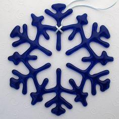 Fused Glass Snowflake Suncatcher Ornament - Cobalt Blue
