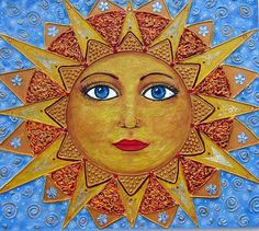 Sun face (my original painting) Sun Moon Stars, Sun And Stars, Moon Symbols, Sun Worship, Good Day Sunshine, Happy Sun, Sun Designs, Sun Art, Moon Design
