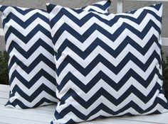 Chevron Throw Pillows Navy Blue Decorative Pillow Covers 18 x 18 Inches - Navy and White Chevron. $32.00, via Etsy.