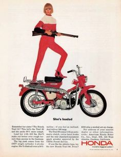 To know more about HONDA ?, visit Sumally, a social network that gathers together all the wanted things in the world! Featuring over other HONDA items too! Women Riding Motorcycles, Vintage Honda Motorcycles, Honda Bikes, Honda Cub, Bmw S1000rr, Vintage Bikes, Vintage Ads, Retro Bikes, Weird Vintage