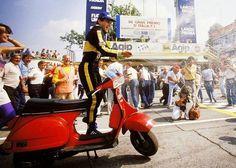 Ayrton Senna with Vespa T5