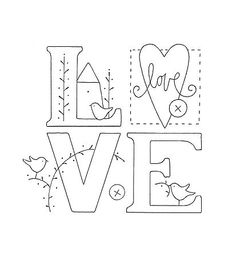 L.O.V.E. embroidery pattern | REPINNED
