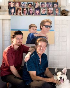 """Who's your daddy? In the mid 1990's, it could have been Mike Rubino, right, with son Jake Strassberg, 19, and dog Stella at their Los Angeles home. The sperm donor met Jake at age 6 and says they've been """"inseparable"""" ever since. They live together in Los Angeles with Jake's mom. Sixteen children he fathered is on mantle. Rubino, a Berkeley-educated artist, believes he has 20 kids total, but removed two pictures to protect their privacy. The 20th child he hasn't had contact with yet and…"""
