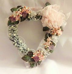 Shabby Pine Cone Valentine Wreath~Heart Shape~Pink/White~Victorian~Roses~Hearts