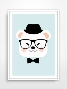 Affiche/Poster/Print * Ours Hipster : Décoration Affiche déco pour chambre d'enfant / Bear / Mint / Kids / Vintage / Scandinave / Children's room. par pagaille-et-cie
