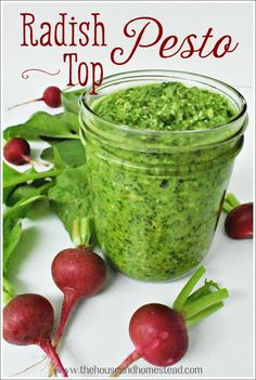 This radish top pesto recipe makes good use of the edible radish greens that often get discarded once they're separated from the root. The end result is a peppery, slightly spicy twist on a classic pesto recipe. A perfect condiment for all your summer snacking! #radishtoppesto #radishgreenspesto #radishgreens #radishtopsrecipes