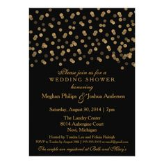 Confetti Wedding Rehearsal Cards Couples Wedding Shower Gold Glitter Confetti Card