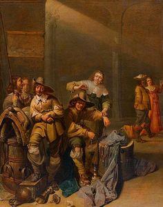 DUCK, JACOB (circa 1600 Utrecht before 1667), Group portrait of gentlemen. Oil on panel. 36.2 x 30 cm.