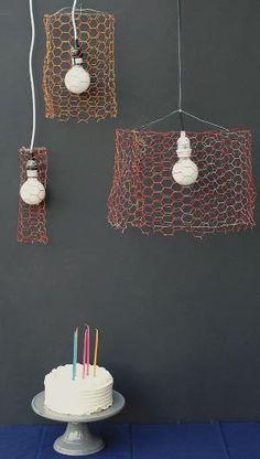 DIY chicken wire pendants by helene