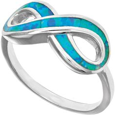 Sterling silver with rhodium finish infinity design with created opal... ($139) ❤ liked on Polyvore featuring jewelry, rings, opal jewellery, sterling silver infinity ring, rhodium jewelry, sterling silver jewellery and sterling silver jewelry