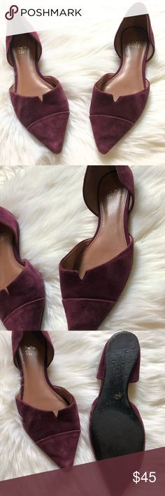Vince Camuto Purple Flats Size 10 deep purple pointed flats by Vince Camuto. Cute and professional! Gently used, no flaws.  I ship daily - excluding Sundays and holidays - and I store items in a smoke free, pet free environment. Open to offers; bundles discounted! No trades. Vince Camuto Shoes Flats & Loafers