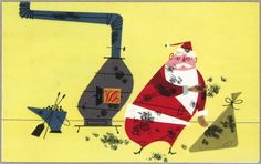 """""""Down the Chimney"""" - Charley Harper Christmas Card for Hallmark, 1953 / entry to Charley Harper prints site with blog and much more."""