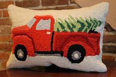 Red truck with christmas tree hooked pillow 17 inches x 11 inches  available at southernmercantile.com