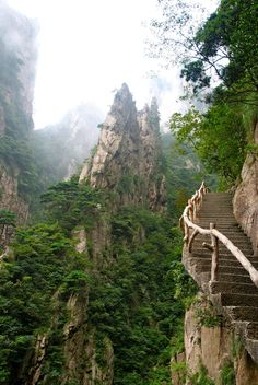 Stairway up the yellow mountains Huangshan, China is part of China travel - Stairway up the yellow mountains Huangshan, China Places Around The World, Oh The Places You'll Go, Places To Travel, Places To Visit, Photos Voyages, China Travel, China Trip, Adventure Is Out There, Wonders Of The World