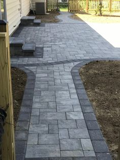 Mounting a Block or Paver Walkway – Outdoor Patio Decor Front Walkway Landscaping, Outdoor Walkway, Paver Walkway, Backyard Landscaping, Walkways, Driveways, Landscaping Ideas, Patio Steps, Backyard Patio Designs