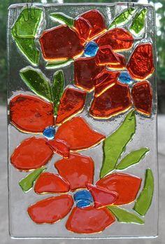 Orange Fused Glass Flowers by BohemianSpiritGlass on Etsy, $22.00